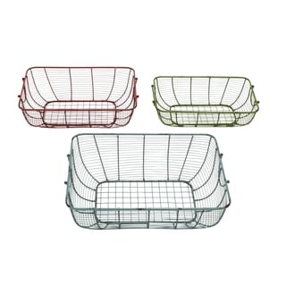 Studio 350 Metal Wire Basket Set of 3, 20 inches 18 inches 16 inches wide