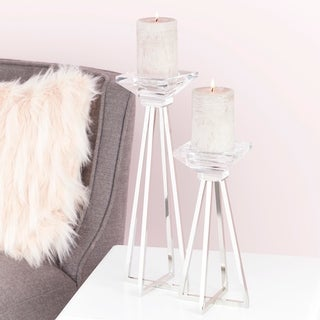 """Glam Glass Metal Candle Holders with X-Shaped Bases 5"""" x 14"""", 5""""x 10"""""""