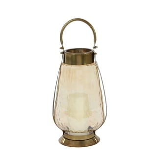 Studio 350 Stainless Steel Glass Lantern 7 inches wide, 17 inches high