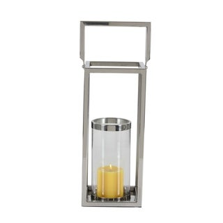 Studio 350 Stainless Steel Glass Lantern 7 inches wide, 18 inches high
