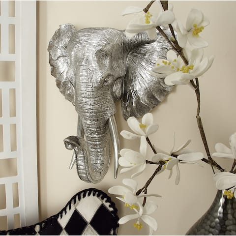 Eclectic 16 Inch Silver Elephant Head Wall Plaque by Studio 350
