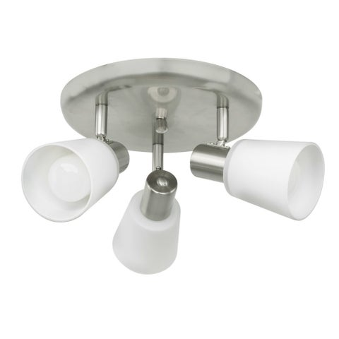 Eglo Gino 3-Light Circular Ceiling Track Light With Matte Nickel Finish and White Glass