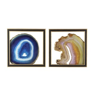 Studio 350 Wood Glass Wall Decor Set of 2, 15 inches wide, 15 inches high