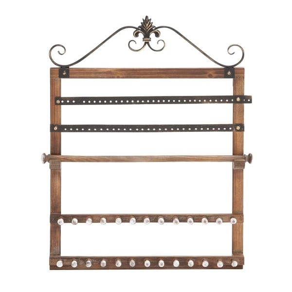 Studio 350 Wood Wall Jewelry Rack 23 inches wide, 30 inches high
