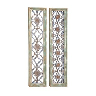 Studio 350 Wood Mirror Wall Panel Set of 2,12 inches wide, 50 inches high