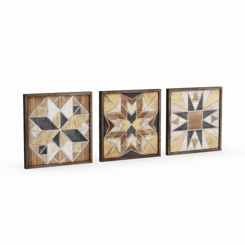 Studio 350 Wood Wall Decor Set of 3, 15 inches wide, 15 inches high - Brown