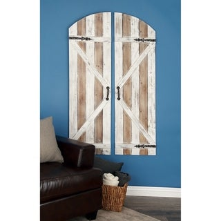 Studio 350 Wood Metal Wall Plaque Set of 2, 34 inches wide, 59 inches high