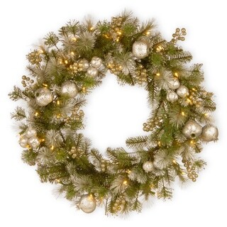 "24"" Glittery Pomegranate Pine Wreath with Battery Operated LED Lights"