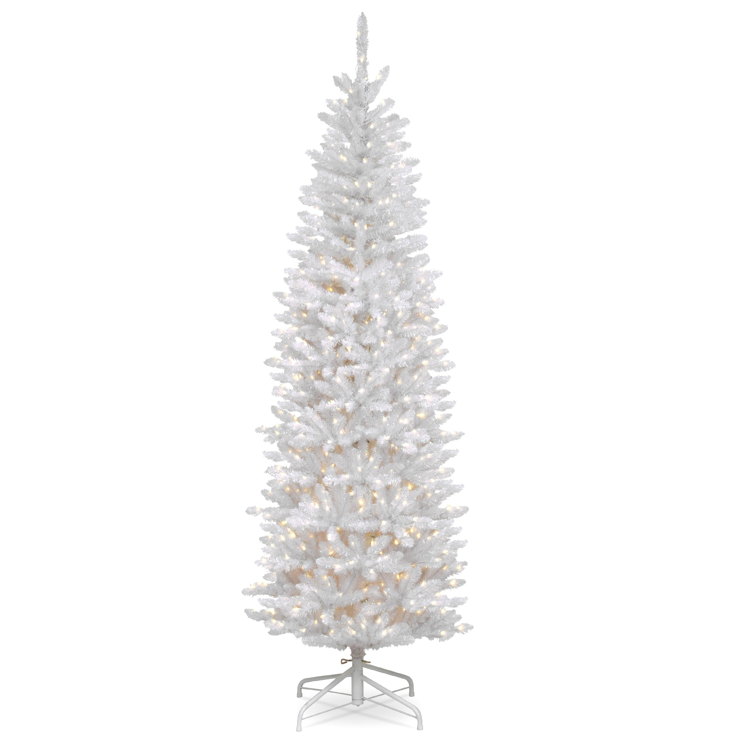 Christmas Tree White Lights.7 5 Ft Kingswood White Fir Pencil Tree With Clear Lights