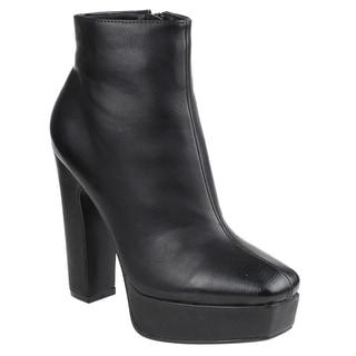 Beston EI45 Women's Platform Chunky Heel Ankle Booties Half Size Small