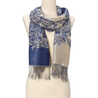 Beautifully Designed Ladies Silk Metallic Blend soft Pashmina Scarf (Royal Blue)