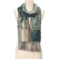 Beautifully Designed Ladies Silk Metallic Blend soft Pashmina Scarf (Midnight Green) … - Large