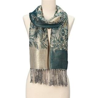 Beautifully Designed Ladies Silk Metallic Blend soft Pashmina Scarf (Midnight Green)  - Large