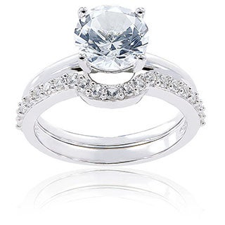 10k White Gold Created White Sapphire Bridal Ring Set by Miadora