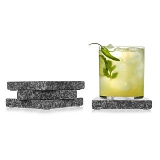 "Sweet Home Collection 4 Piece Black Granite Coaster Set (4""x4"")"