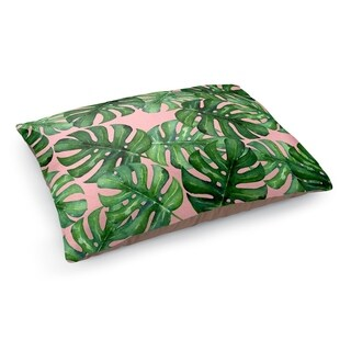 Kavka Designs Pink/Green Tropical Leafs Pink Pet Bed By Terri Ellis