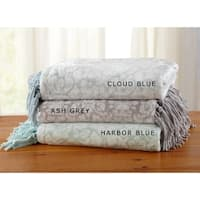 Home Fashion Designs Katrina Collection Ultra Velvet Plush Throw Blanket with Printed Pattern and Decorative Fringe