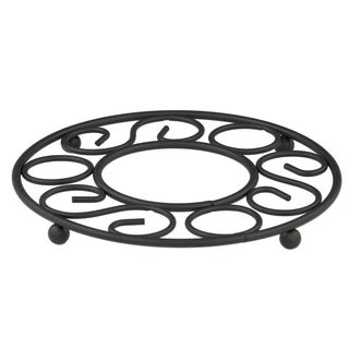 "Sweet Home Collection Scroll Collection Black Trivet (8""x8""x0.75"")"