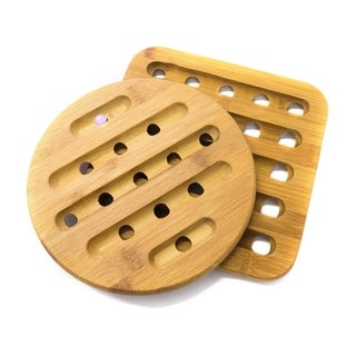 """Sweet Home Collection 2 Piece Bamboo Trivet Set (square: 7""""x7"""", round: 7"""")"""