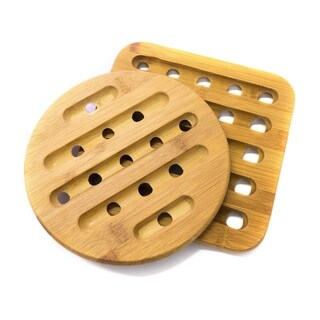 "Sweet Home Collection 2 Piece Bamboo Trivet Set (square: 7""x7"", round: 7"")"