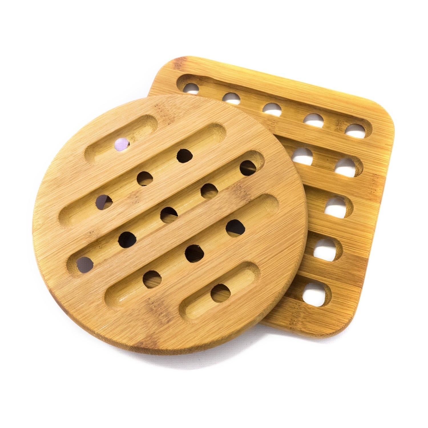 Sweet Home Collection 2 Piece Bamboo Trivet Set Square 7 X7 Round 7 Overstock 17267491