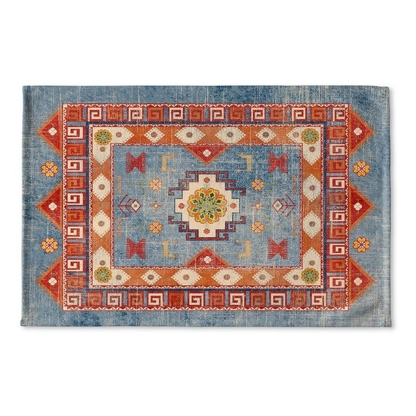 Kavka Designs Blue/Red/Orange/Green Oma Denim Flat Weave Bath mat (2' x 3')