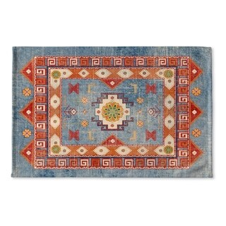 Kavka Designs Blue/Red/Orange/Green Oma Denim Flat Weave Bath mat (2' x 3')