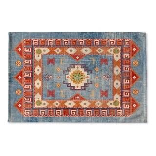 Kavka Designs Blue/Red/Orange/Green Oma Denim Flat Weave Bath Mat (