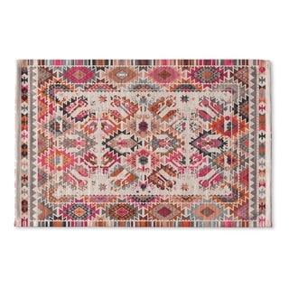 Kavka Designs Ivory/Pink/Brown/Peach/Grey Tangier Flat Weave Bath mat (2' x 3')