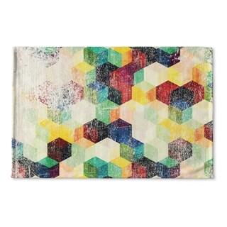 Kavka Designs Red/Green/Orange/Blue/Purple Nova Distressed Flat Weave Bath mat (2' x 3')