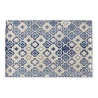 Kavka Designs Blue/Ivory Tripolis Flat Weave Bath mat (2' x 3')