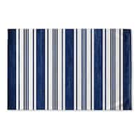 Kavka Designs Blue/White Orleans Navy Flat Weave Bath mat (2' x 3')