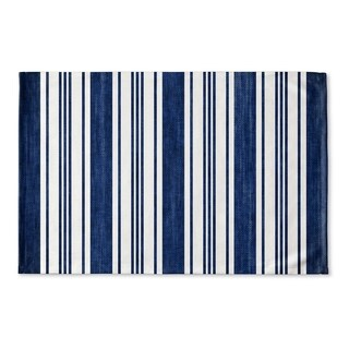 Kavka Designs Blue/White Orleans Navy Flat Weave Bath mat (2' x 3')