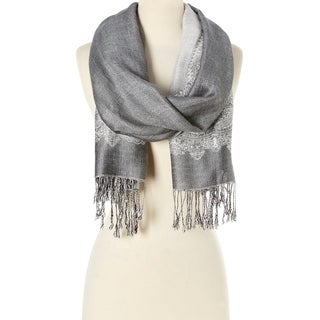 Stylish and Fashionable High Class Women's Scarf and Pashmina (Silver with White) …