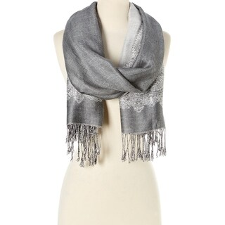 Stylish and Fashionable High Class Women's Scarf and Pashmina (Silver with White)