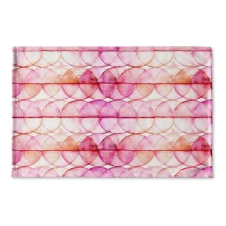 Kavka Designs Pink Hot Circles Flat Weave Bath mat (2' x 3')
