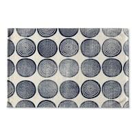 Kavka Designs Blue/Ivory Around And Around Flat Weave Bath mat (2' x 3')