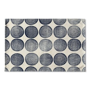 Kavka Designs Blue/Ivory Around And Around Flat Weave Bath mat (2' x 3')