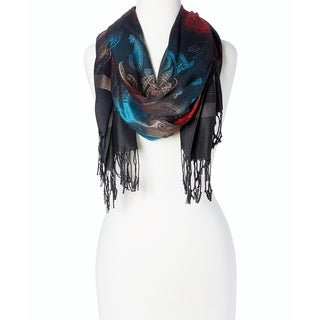 Women's Appealing Rayon Blend Beautiful Long Scarf Wrap (Black Teal)