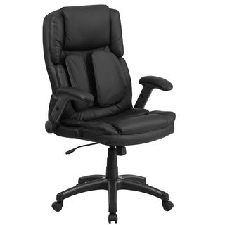 Executive High Back Black Leather Adjustable Swivel Office Chair With Padded Flip-up Arms