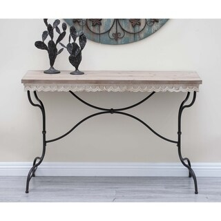 Rustic Fir Wood and Light Brown and Black Console Table by Studio 350 - N/A