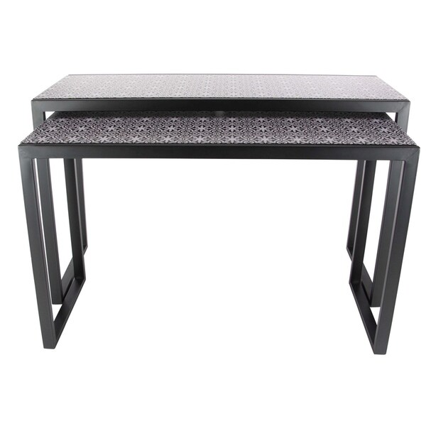 Studio 350 Metal Wood Black, White Console Table Set Of 2