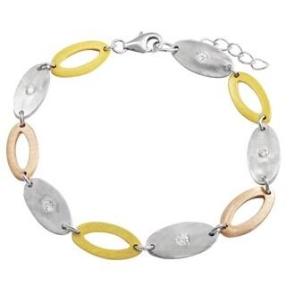 Luxiro Sterling Silver Tri-color Finsh Cubic Zirconia Bracelet
