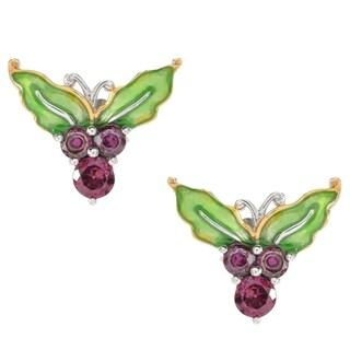 Michael Valitutti Palladium Silver Rhodolite & Enamel Holly Stud Earrings - Red