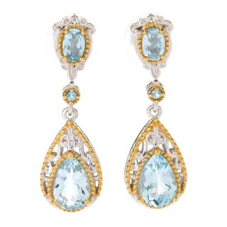 Michael Valitutti Palladium Silver Aquamarine & Swiss Blue Topaz Dangle Earrings