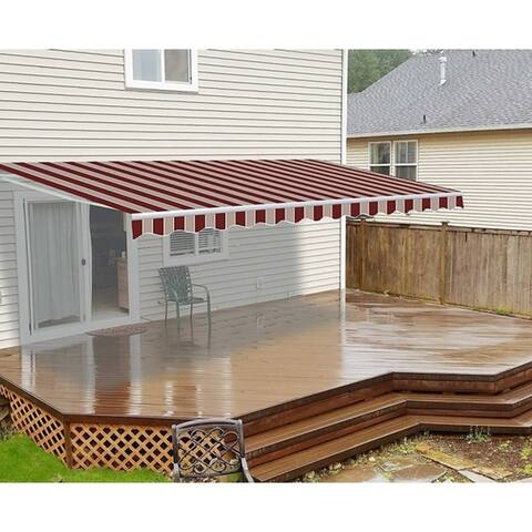 ALEKO Motorized 16x10 Feet Retractable Patio Awning Multi Striped Red