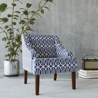 Havenside Home Gloucester Blue Trellis Swoop Accent Chair