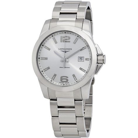 5d92db050 Shop Longines Conquest Stainless Steel Mens Watch - Free Shipping ...
