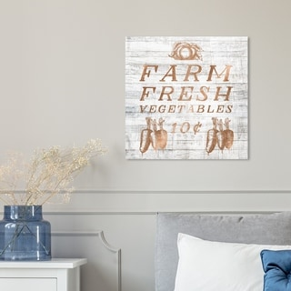 Oliver Gal 'Farm Fresh Vegetables Square Copper' Food and Cuisine Wall Art Canvas Print - Gold, Gray