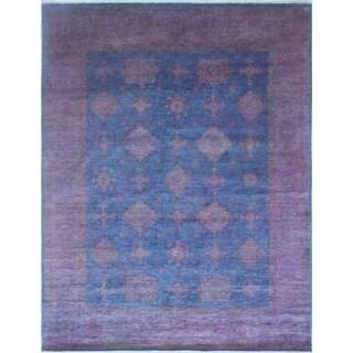 "Noori Rug Overdyed Chobi Morwarid Purple/Blue Rug - 8'0"" x 10'0"""